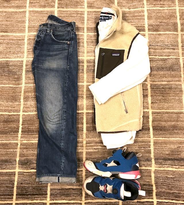 BDシャツ;ラルフローレン ベスト;パタゴニア ジーパン;LVC66501 スニーカー;ポンプフューリ